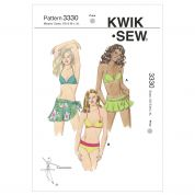 Kwik Sew Ladies Easy Sewing Pattern 3330 Bikini Swimsuit, Sarong & Flower Appliques
