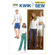 Kwik Sew Adult Unisex Easy Learn to Sew Sewing Pattern 3345 Pants & Shorts