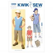 Kwik Sew Childrens Sewing Pattern 3398 Boys Shorts, Tops & Cap Hat