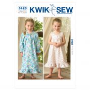 Kwik Sew Toddlers Easy Sewing Pattern 3423 Nightgowns Sleepwear