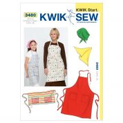 Kwik Sew Ladies & Girls Easy Learn to Sew Sewing Pattern 3480 Aprons & Head Scarves
