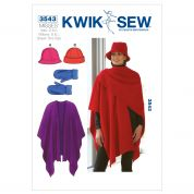 Kwik Sew Ladies Accessories Easy Sewing Pattern 3543 Hats, Mittens & Shawl Wrap