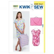 Kwik Sew Childrens Easy Learn to Sew Sewing Pattern 3551 Sleep Shirt & Pillowcase