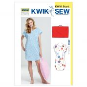 Kwik Sew Ladies Easy Learn to Sew Sewing Pattern 3552 Sleep Shirt & Pillowcase