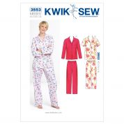 Kwik Sew Ladies Sewing Pattern 3553 Pyjama Shirt Tops & Pants