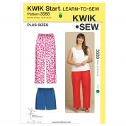 Kwik Sew Ladies Plus Size Easy Learn to Sew Sewing Pattern 3588 Pants & Shorts