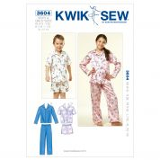 Kwik Sew Childrens Unisex Sewing Pattern 3604 Pyjama Pants, Shorts & Tops