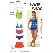 Kwik Sew Childrens Easy Sewing Pattern 3605 Mix & Match Swimwear