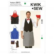 Kwik Sew Men's Sewing Pattern 3613 Aprons, Oven Mitts, Pot Holders & Alphabet Appliques