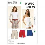 Kwik Sew Ladies Sewing Pattern 3614 Fitted Shorts in 3 Lengths
