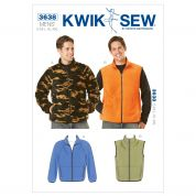 Kwik Sew Mens Sewing Pattern 3638 Fleece Jackets & Gilet Waistcoats