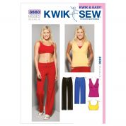 Kwik Sew Ladies Sewing Pattern 3660 Sportswear Top, Bra & Gym Pants