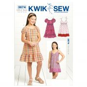 Kwik Sew Childrens Sewing Pattern 3674 Girls Empire Dresses