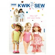 Kwik Sew Crafts Sewing Pattern 3688 Playtime Doll Clothes