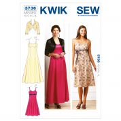 Kwik Sew Ladies Sewing Pattern 3736 Sweetheart Neckline Dresses & Jacket