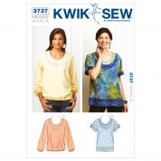 Kwik Sew Ladies Sewing Pattern 3737 Scoop Neck Summer Tops
