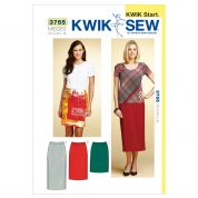 Kwik Sew Ladies Easy Learn to Sew Sewing Pattern 3765 Pull on Skirts