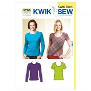 Kwik Sew Ladies Easy Learn to Sew Sewing Pattern 3766 Jersey Tops