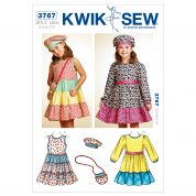 Kwik Sew Childrens Sewing Pattern 3767 Girls Summer Dresses, Hat & Bag