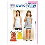 Kwik Sew Childrens Sewing Pattern 3768 Girls Summer Dress & Tunic Top