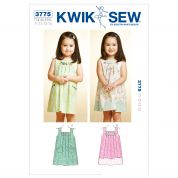Kwik Sew Toddlers Sewing Pattern 3775 Girls Box Pleat Dresses
