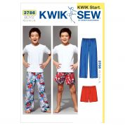 Kwik Sew Childrens Easy Learn to Sew Sewing Pattern 3786 Pyjama Bottoms Pants & Shorts