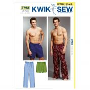 Kwik Sew Mens Easy Learn to Sew Sewing Pattern 3793 Pyjama Bottoms Pants & Shorts