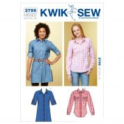 Kwik Sew Ladies Sewing Pattern 3799 Shirt & Shirt Dress