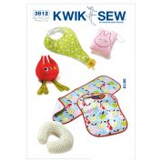 Kwik Sew Kwik Baby Easy Sewing Pattern 3812 Bibs, Burp Cloth, Pillows & Toy