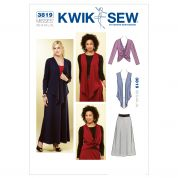 Kwik Sew Ladies Easy Sewing Pattern 3819 Skirt, Jacket & Sleeveless Top