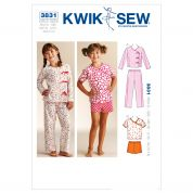 Kwik Sew Childrens Easy Sewing Pattern 3831 Girls Sleepy Time Pyjamas