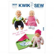 Kwik Sew Crafts Sewing Pattern 3834 Baby Doll Clothes