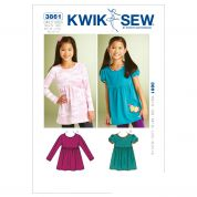 Kwik Sew Childrens Easy Sewing Pattern 3861 Girls Butterfly Tops