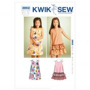 Kwik Sew Childrens Sewing Pattern 3862 A Line Summer Dresses