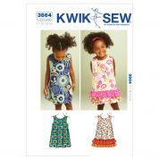 Kwik Sew Toddlers Easy Sewing Pattern 3864 A Line Summer Dresses