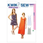 Kwik Sew Ladies Easy Sewing Pattern 3871 A Line Pullover Dresses