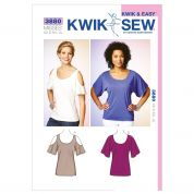 Kwik Sew Ladies Easy Sewing Pattern 3880 Dolman Sleeve Jersey Tops
