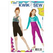 Kwik Sew Childrens Easy Sewing Pattern 3887 Unitard Full Body Leotard