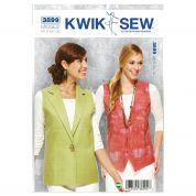 Kwik Sew Ladies Sewing Pattern 3899 Waistcoats Sleeveless Tops
