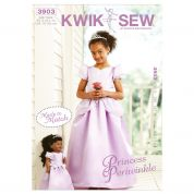 Kwik Sew Childrens & Dolls Sewing Pattern 3903 Matching Princess Dresses