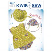 Kwik Sew Baby Sewing Pattern 3907 Dress, Bloomers & Reversible Hat