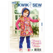 Kwik Sew Toddlers Sewing Pattern 3908 Wrap Dress, Leggings & Hat