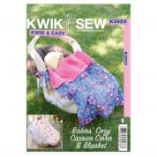 Kwik Sew Baby Easy Sewing Pattern 3923 Babies Cosy Carrier Cover & Blanket
