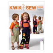 Kwik Sew Toddlers Sewing Pattern 3948 Girls & Boys Dungarees Overalls