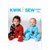 Kwik Sew Baby Easy Sewing Pattern 3960 Sleeper Onesie with Appliques