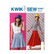 Kwik Sew Ladies Sewing Pattern 3987 Panelled Skirts & Hat
