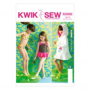 Kwik Sew Childrens Sewing Pattern 3998 Girls Bikini, Swimsuit & Cover Up