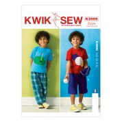 Kwik Sew Childrens Sewing Pattern 3999 Sport Applique Tops, Shorts & Pants