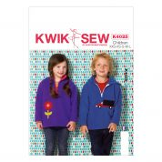 Kwik Sew Childrens Sewing Pattern 4025 Boys & Girls Tracksuit Tops with Appliques