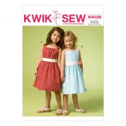 Kwik Sew Childrens Sewing Pattern 4038 Girls Dresses with Side Ties